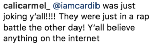 cardi b instagram comments after break up