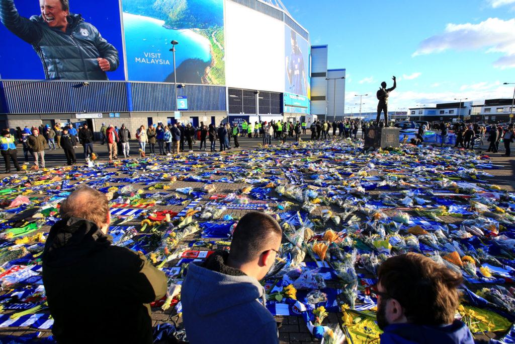 Tribute to Emiliano Sala outside Cardiff City Stadium