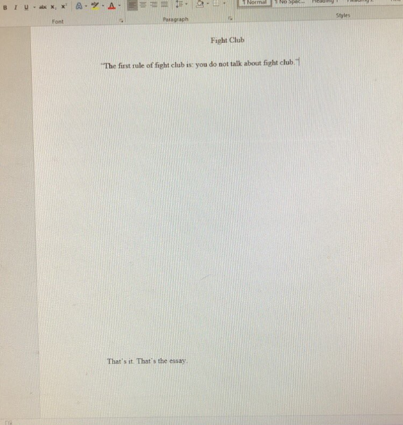 Fight club essays
