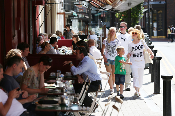 People enjoy the outdoor city life on Wicklow Street and South William Street.