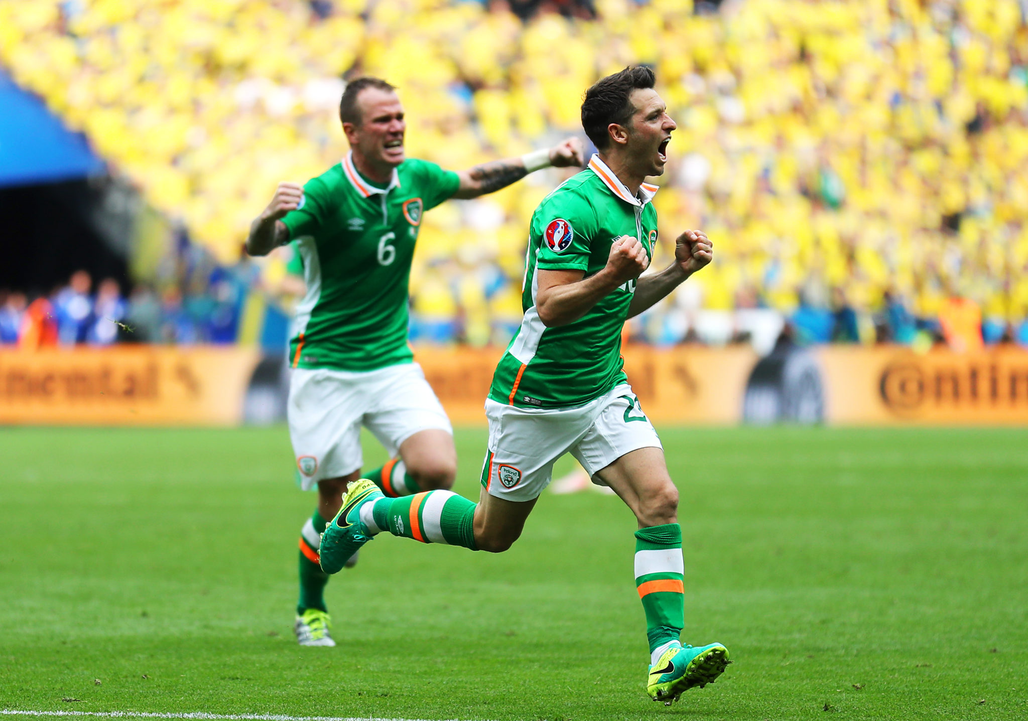 Republic of Ireland's Wes Hoolahan celebrates scoring his side's first goal of the game during the UEFA Euro 2016, Group E match at the Stade de France, Paris.