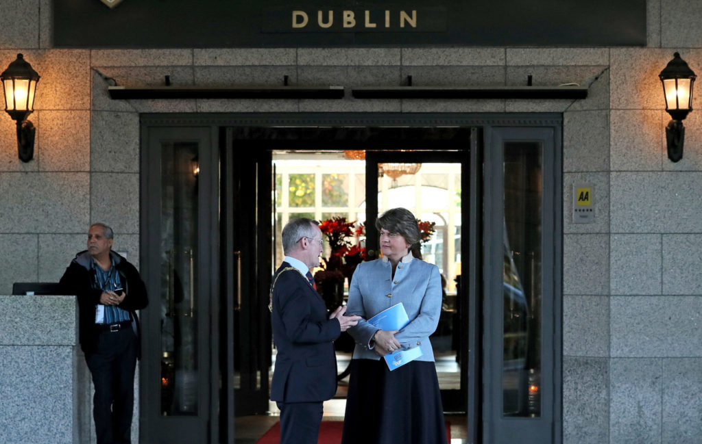 DUP Leader Arlene Foster (right) talks with Dublin Chamber of Commerce President Niall Gibbons, before a speech to the Dublin Chamber at the Intercontinental Hotel Dublin | Image: Brian Lawless/PA Wire/PA Images