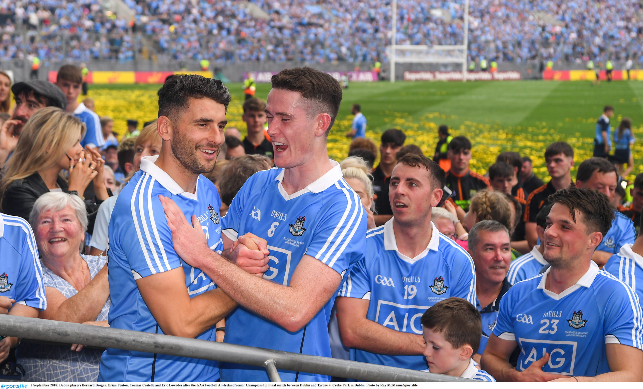 Bernard Brogan and Brian Fenton celebrate after Dublin defeat Tyrone at Croke Park
