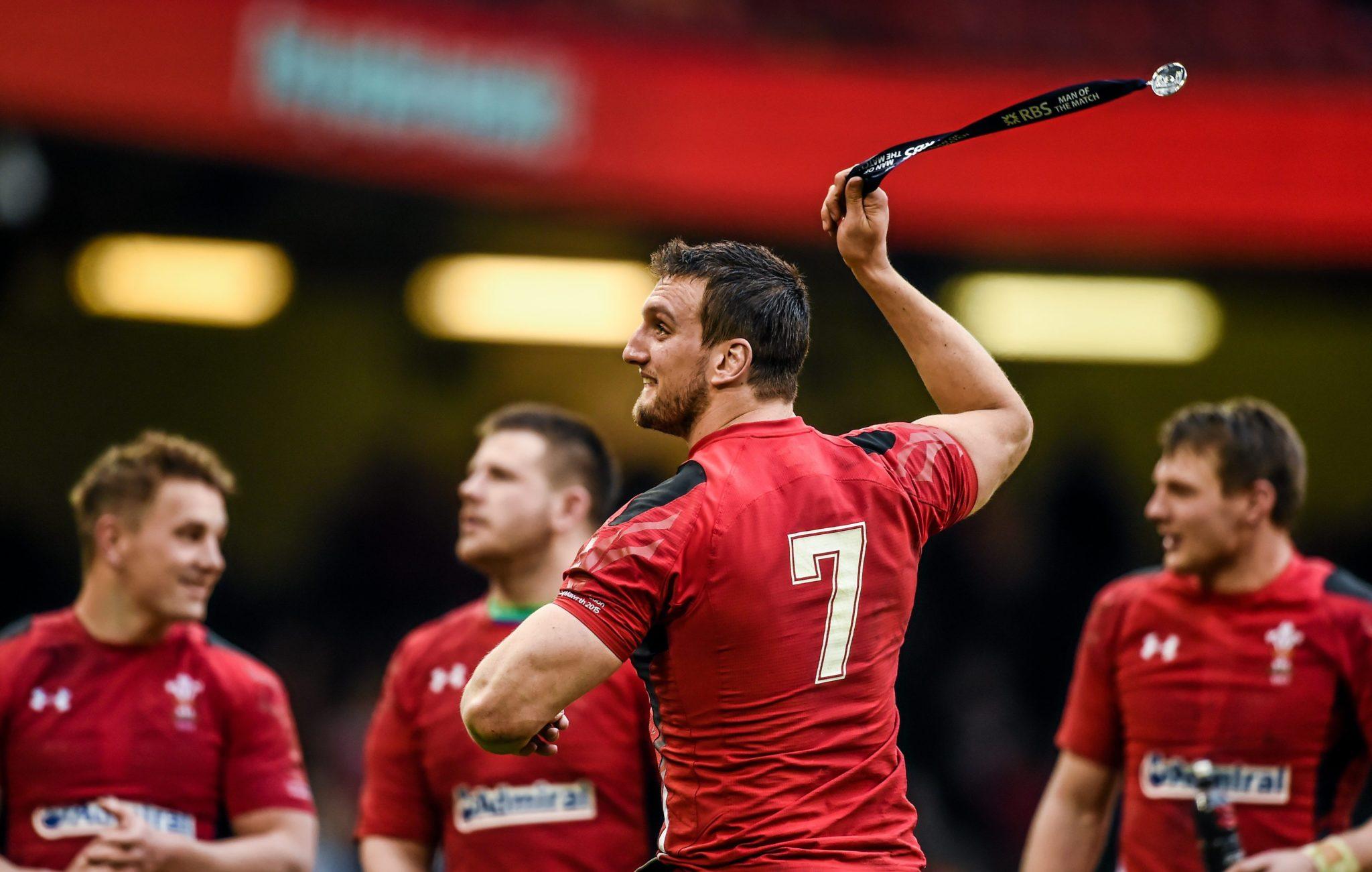 Sam Warburton celebrates against Ireland