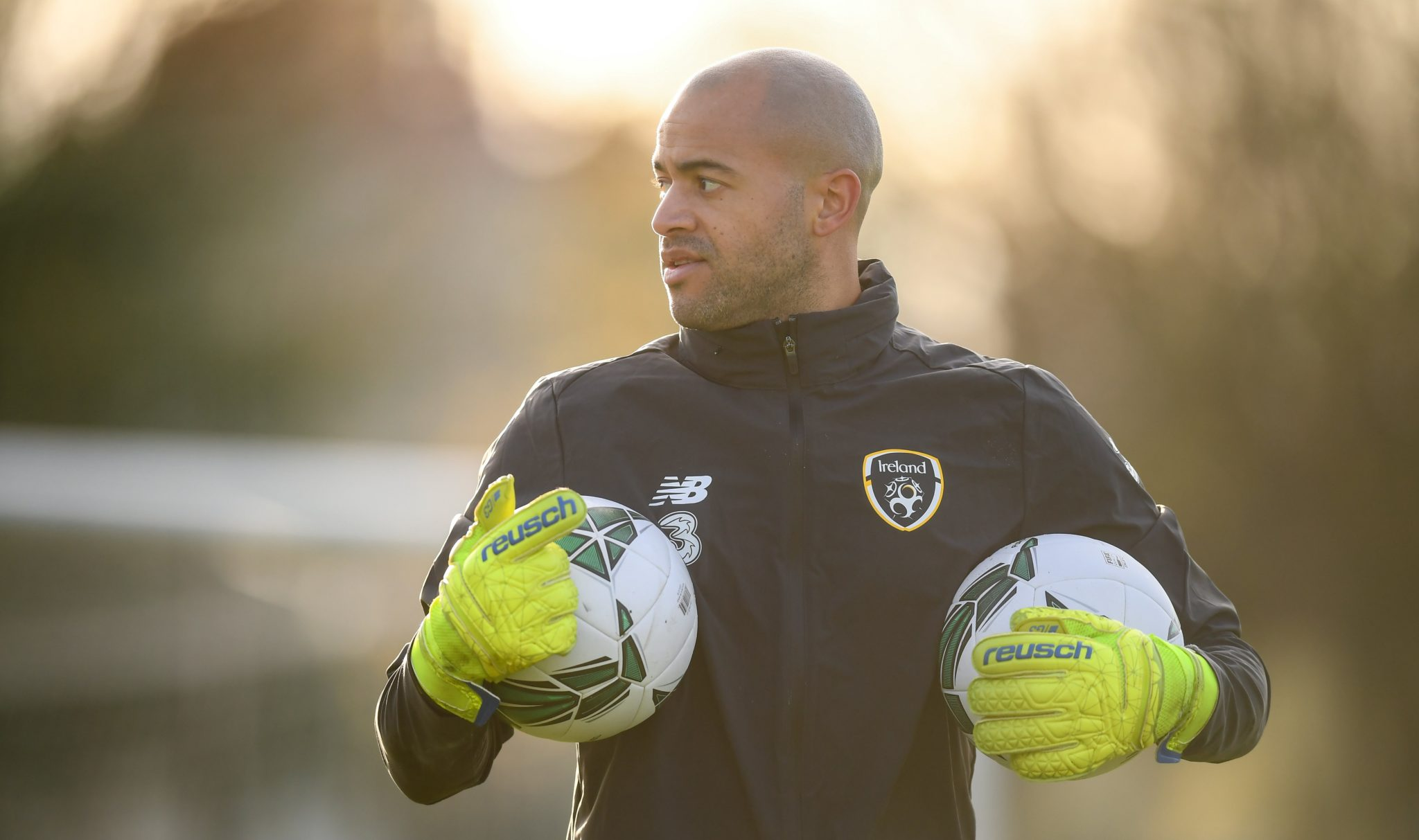 Darren Randolph during a training session for Ireland at Abbotstown.
