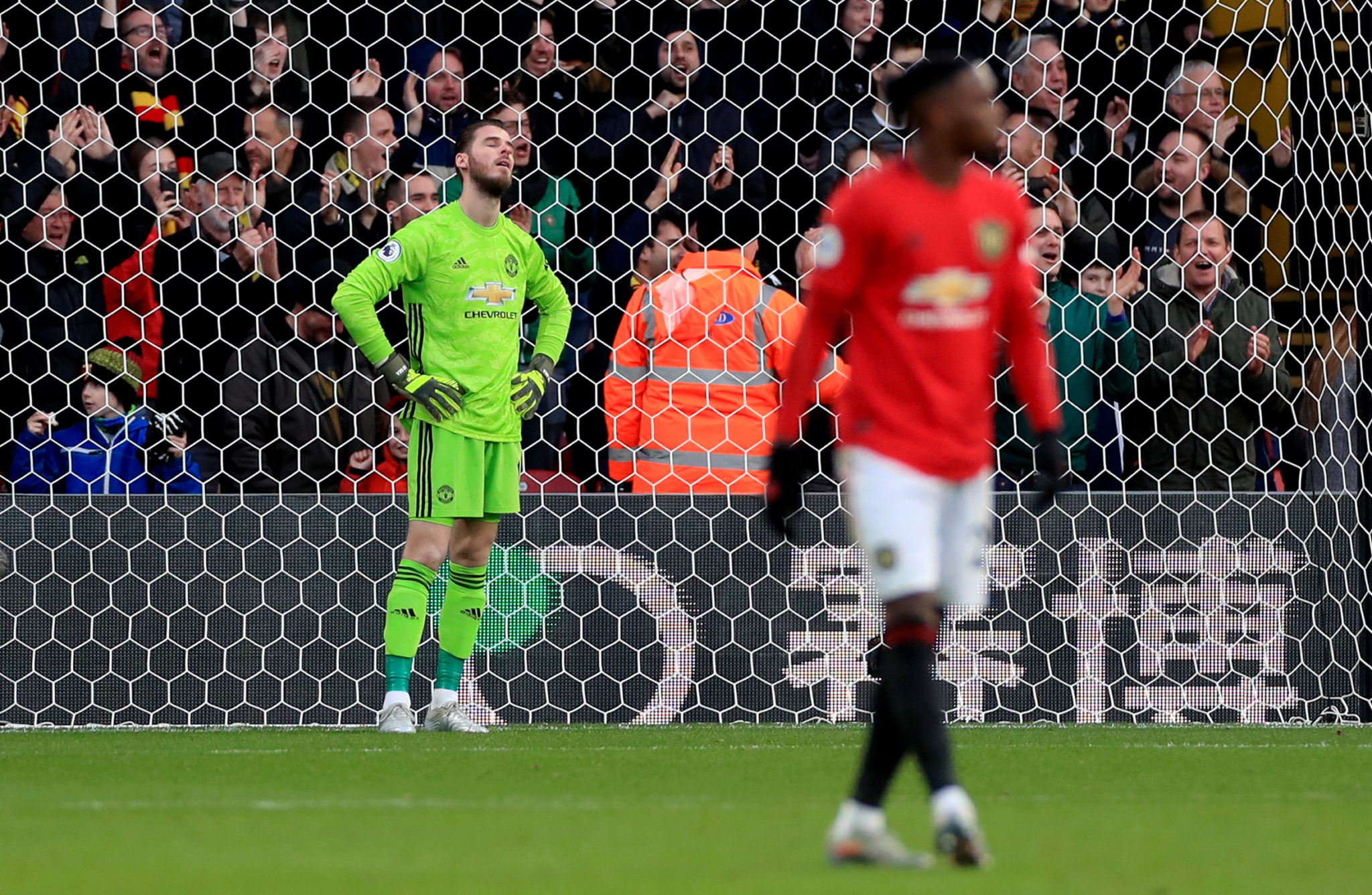 David de Gea disappointment after conceding a goal.