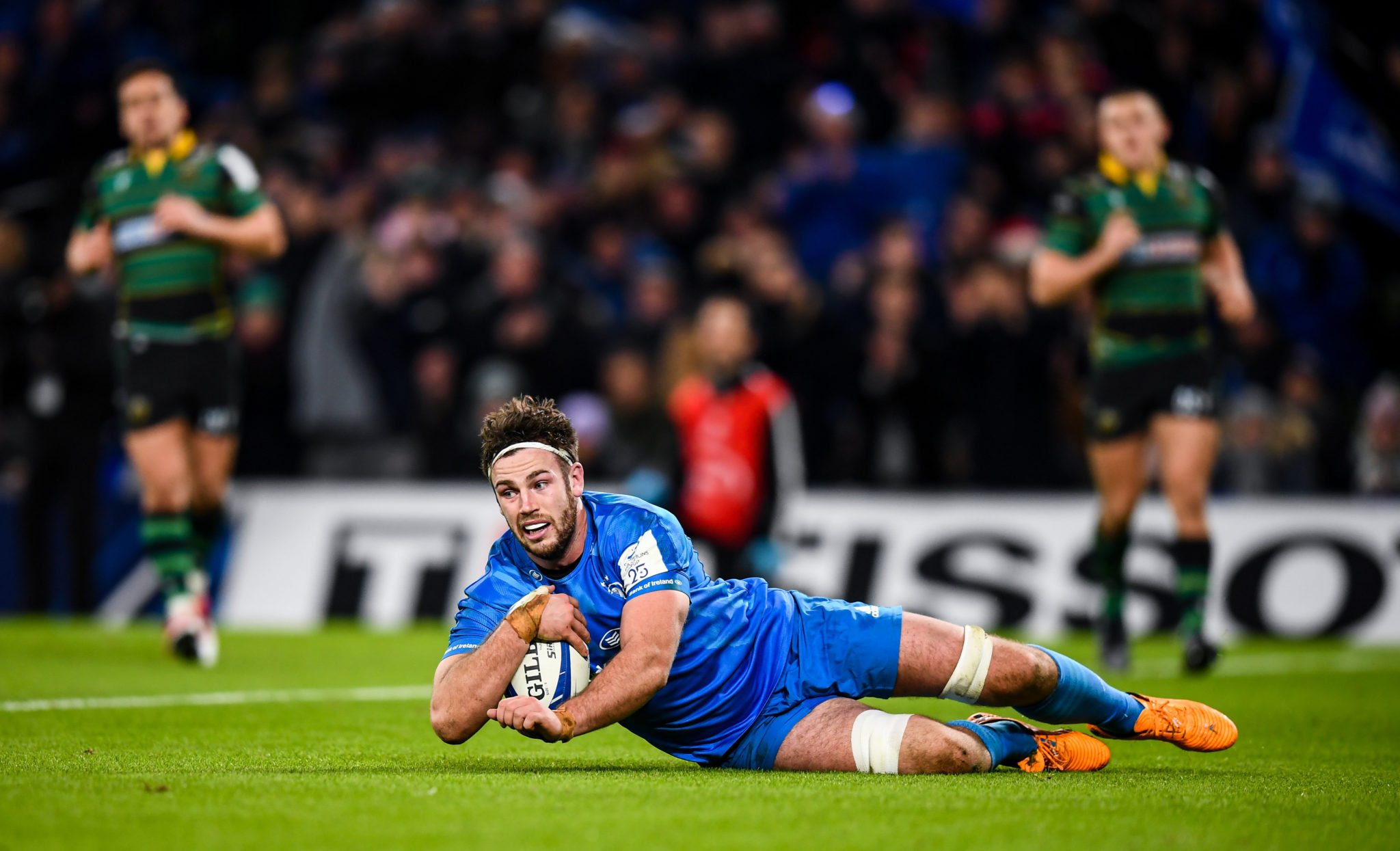 Caelan Doris of Leinster scores his side's seventh try during the Heineken Champions Cup Pool 1 Round 4 match between Leinster and Northampton Saints at the Aviva Stadium in Dublin