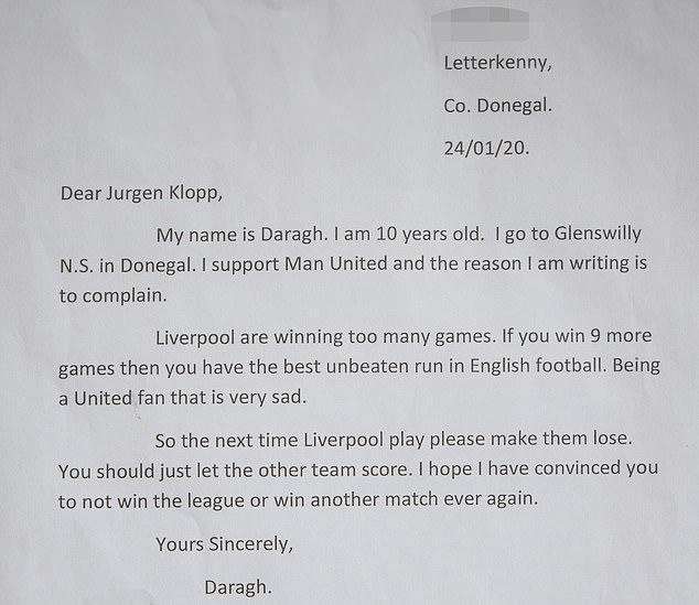 Daragh Curley letter
