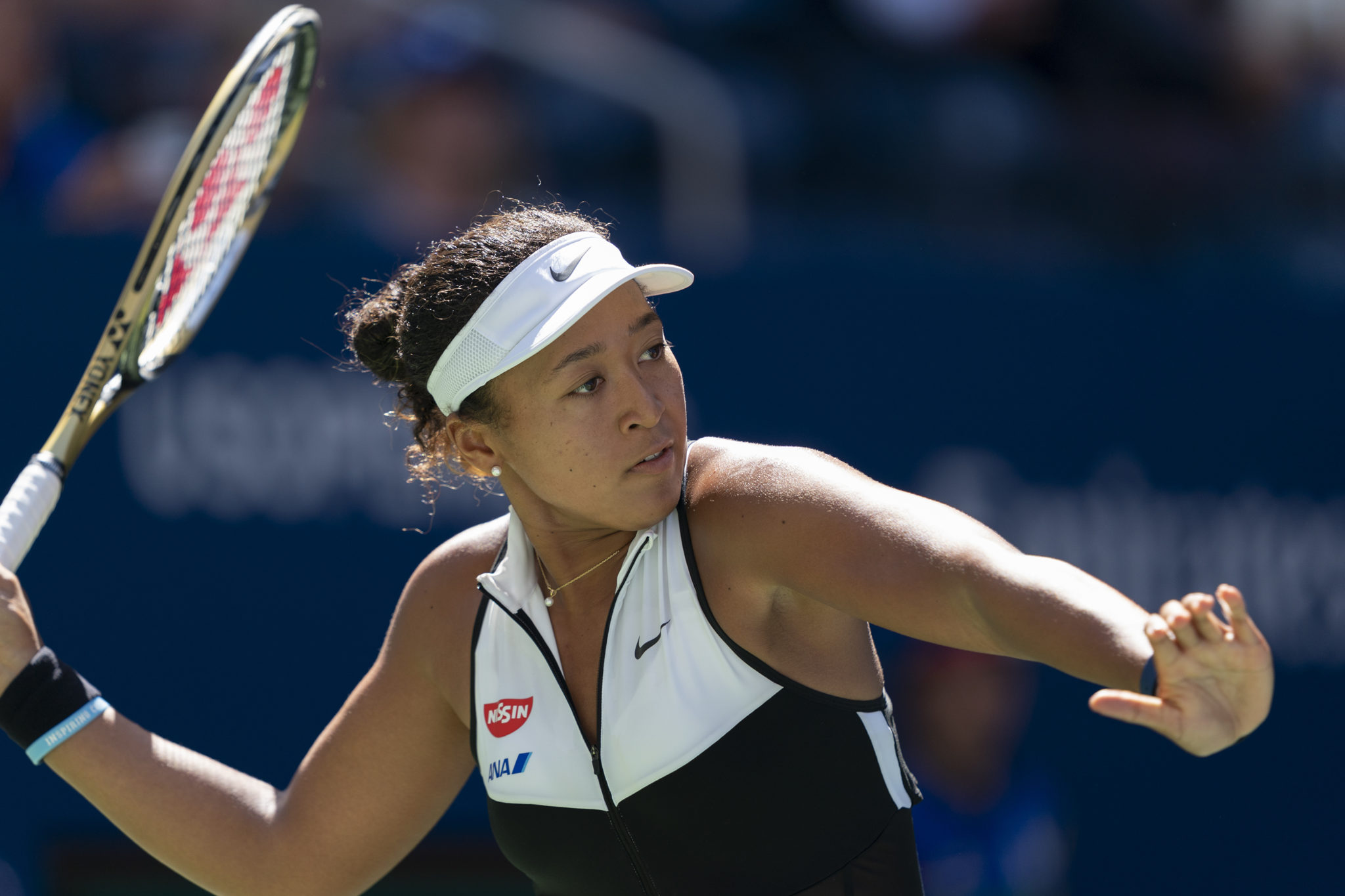 Naomi Osaka hits a forehand during the US Open