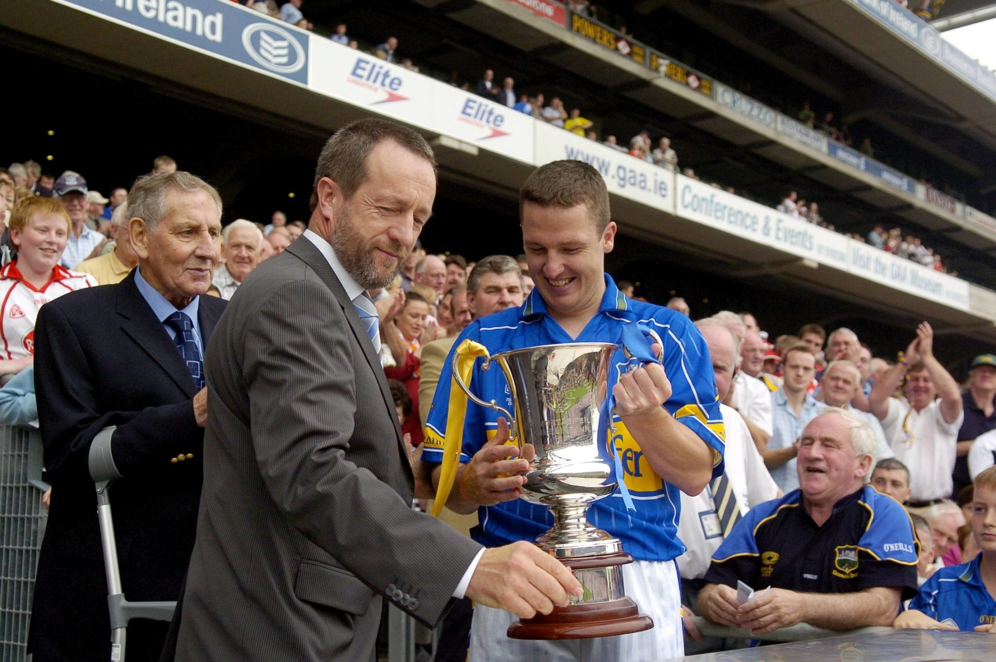 Former GAA star, Declan Browne lifts the Tommy Murphy Cup for Tipperary.