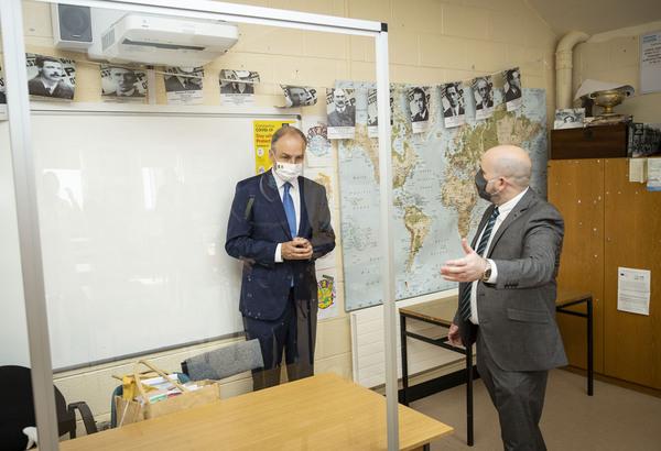 The Taoiseach Micheál Martin with Principal Jim O'Sullivan,at Nagle Secondary Community College in Mahon, Cork Schools