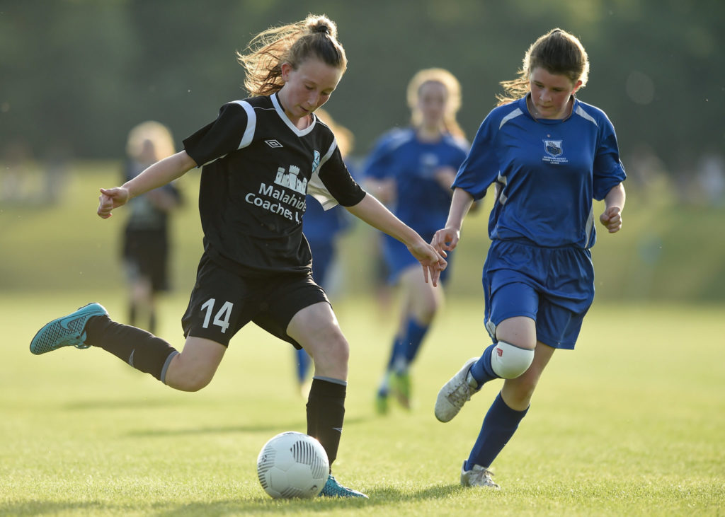 3 June 2016; Orla Prendergast of Metropolitan Girls League in action against Lillie Elliot of Waterford during their Gaynor Cup Group C match at the University of Limerick, Limerick. Photo by Diarmuid Greene/Sportsfile