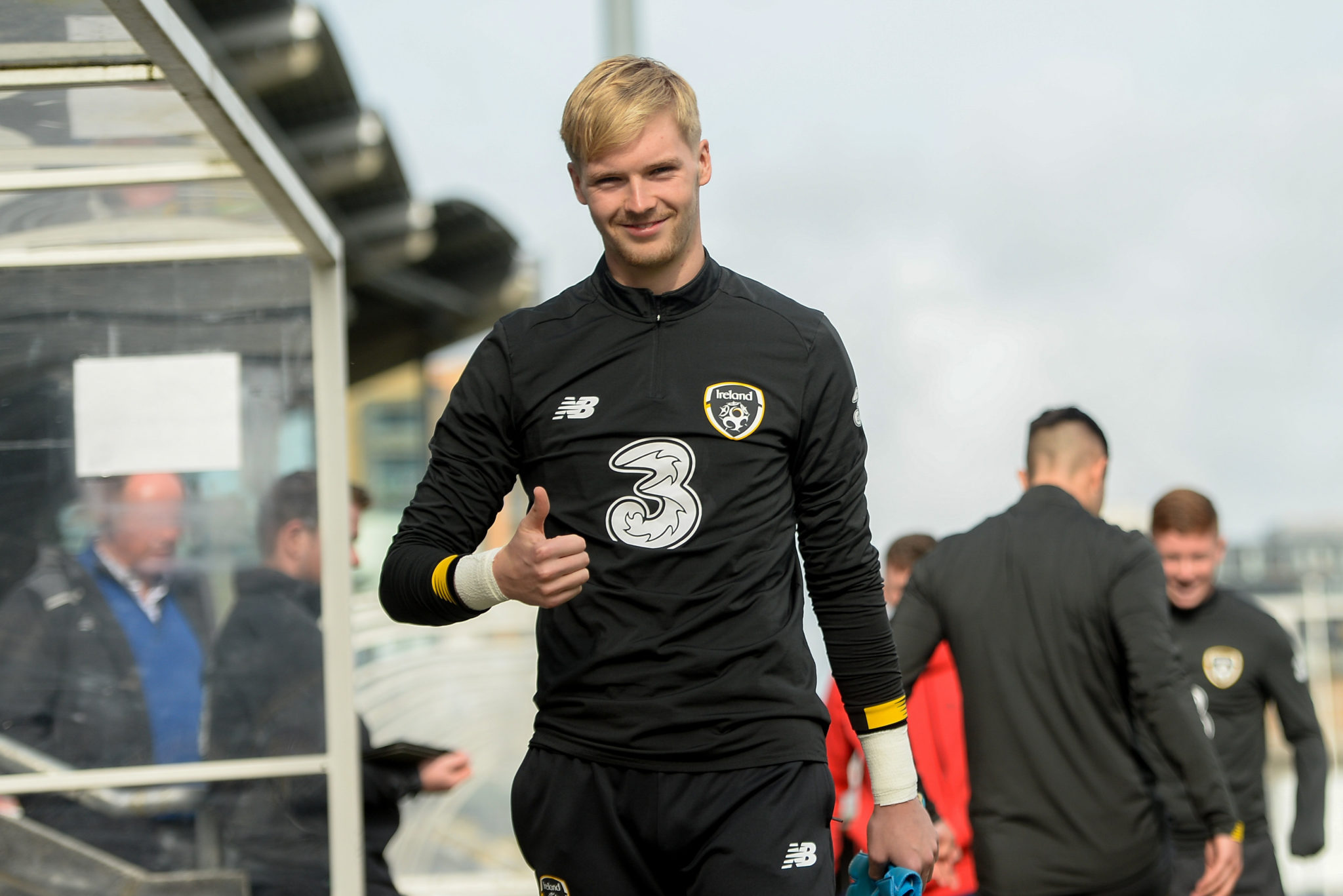 Caoimhin Kelleher at an under-21s training session.