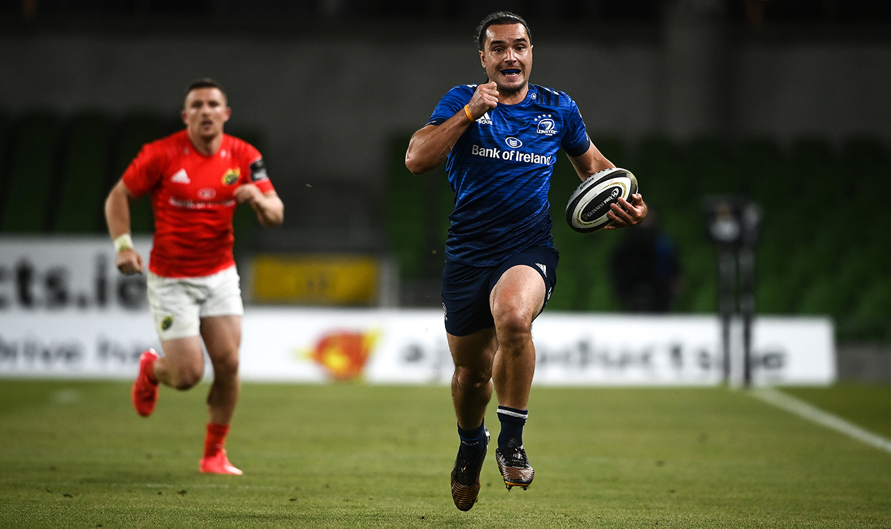 James Lowe of Leinster on his way to scoring his side's third try during the Guinness PRO14 Round 14 match between Leinster and Munster