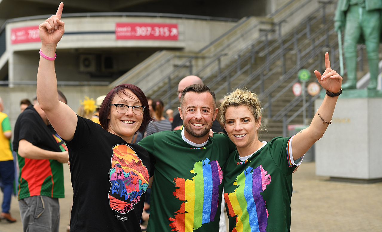 Intercounty referee David Gough with Lindsay Peat, left, and Valerie Mulcahy, in attendance, at Croke Park, Dublin, before setting off to join the Dublin Pride Parade 2019.