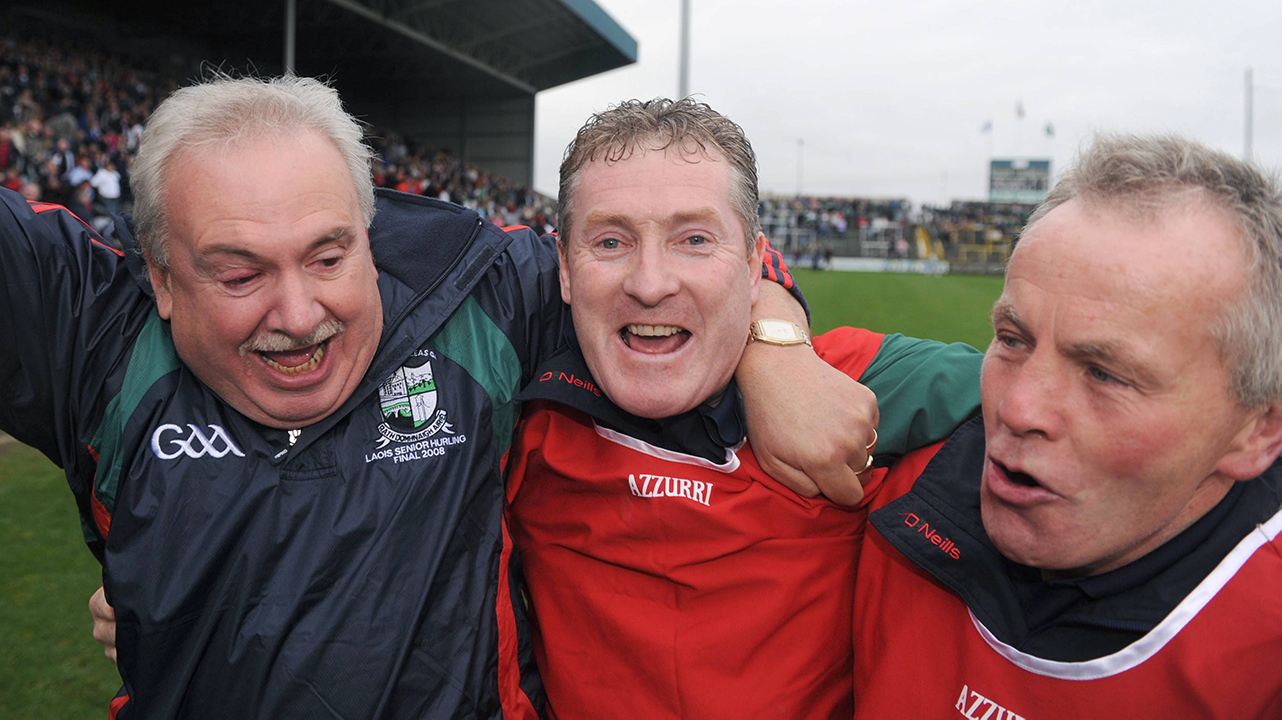 Rathdowney/Errill manager Paul Murphy, centre, celebrates with Tim Barry, Club Chairman, left, and John Delaney, selector, after their side's victory. Laois County Senior Hurling Final, Portlaoise v Rathdowney/Errill