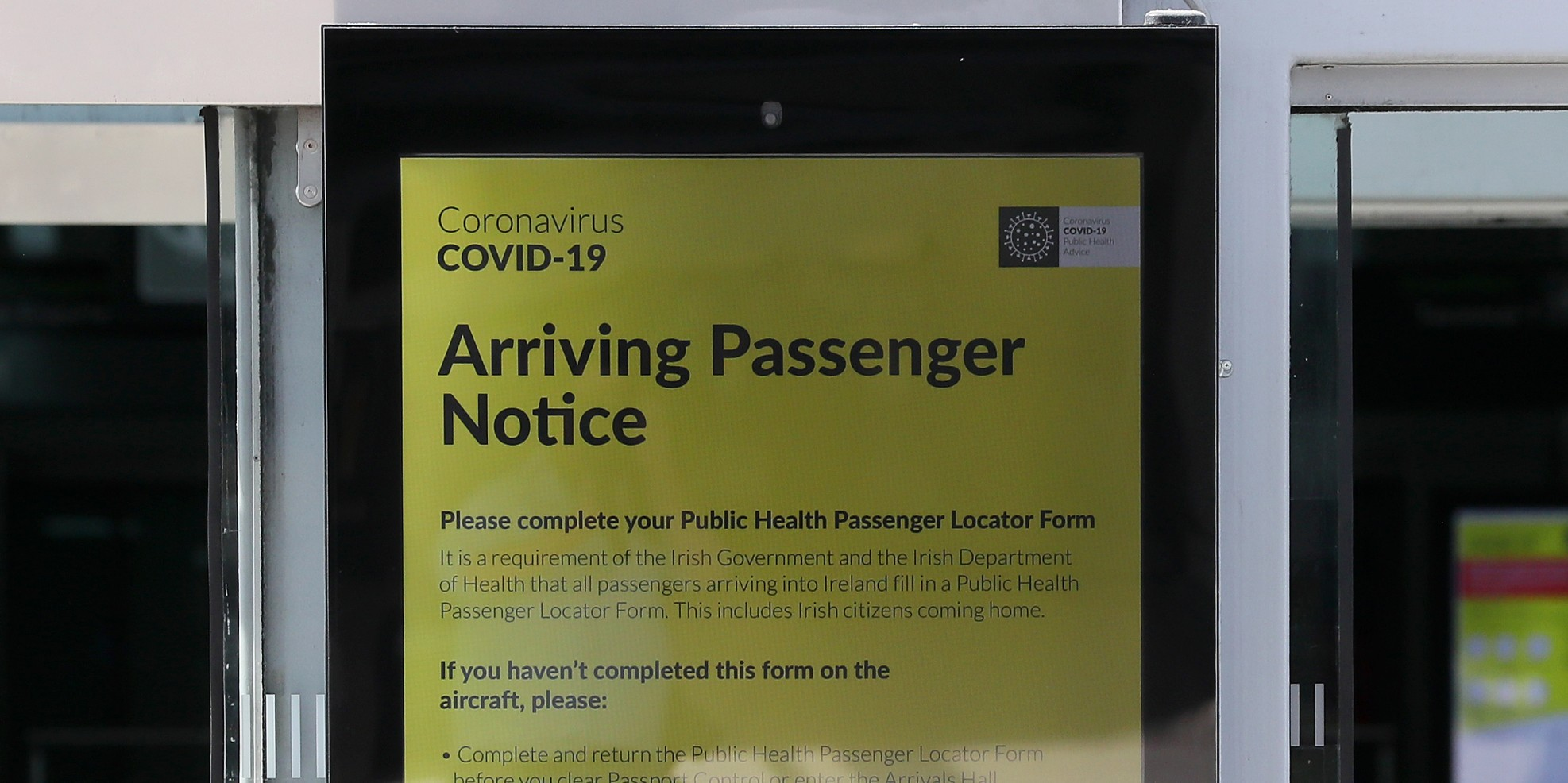 Travel notice at Dublin Airport