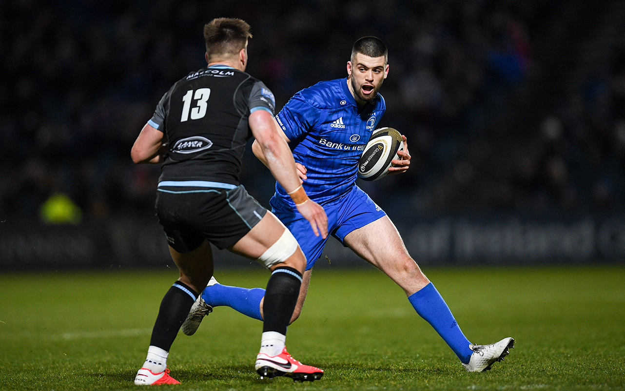 Harry Byrne of Leinster during the Guinness PRO14 Round 13 match between Leinster and Glasgow Warriors at the RDS Arena