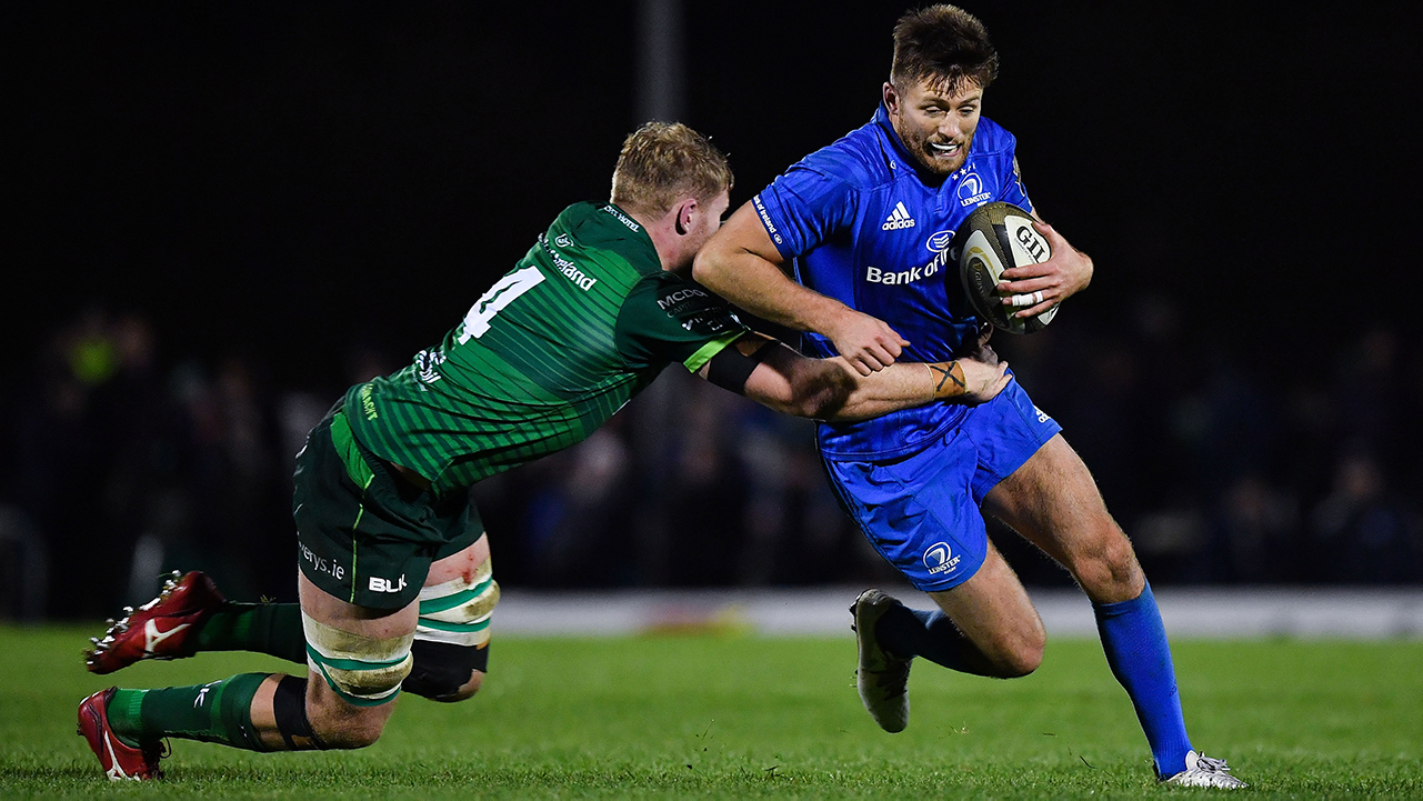 Ross Byrne of Leinster is tackled by Cillian Gallagher of Connacht during the Guinness PRO14 Round 6 match between Connacht and Leinster in the Sportsground in Galway