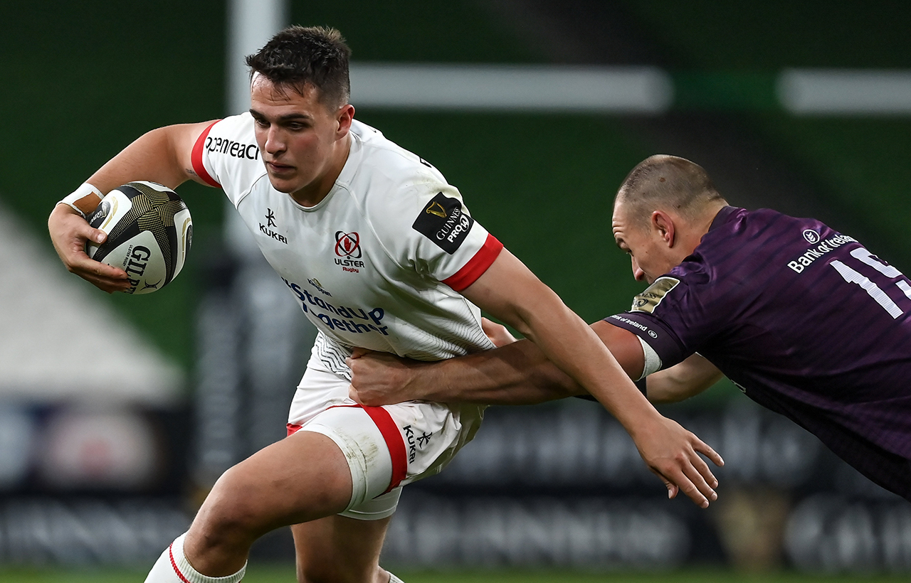 James Hume of Ulster is tackled by Rhys Ruddock of Leinster during the Guinness PRO14 Round 15 match between Ulster and Leinster at the Aviva Stadium in Dublin