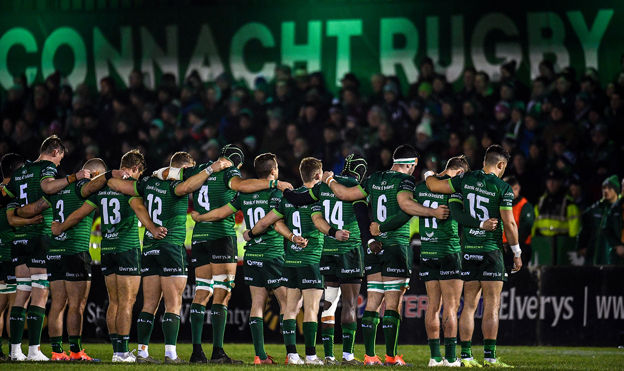 The Connacht team during a minute's silence for former Munster Rugby CEO Garrett Fitzgerald ahead of the Guinness PRO14 Round 11 match between Connacht and Cardiff Blues at the Sportsground in Galway