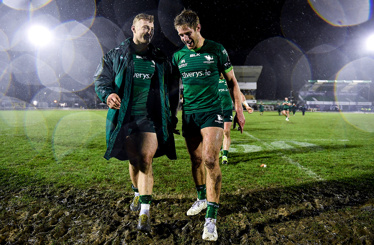 Peter Robb, left, and Kyle Godwin of Connacht following the Guinness PRO14 Round 11 match between Connacht and Cardiff Blues at the Sportsground in Galway