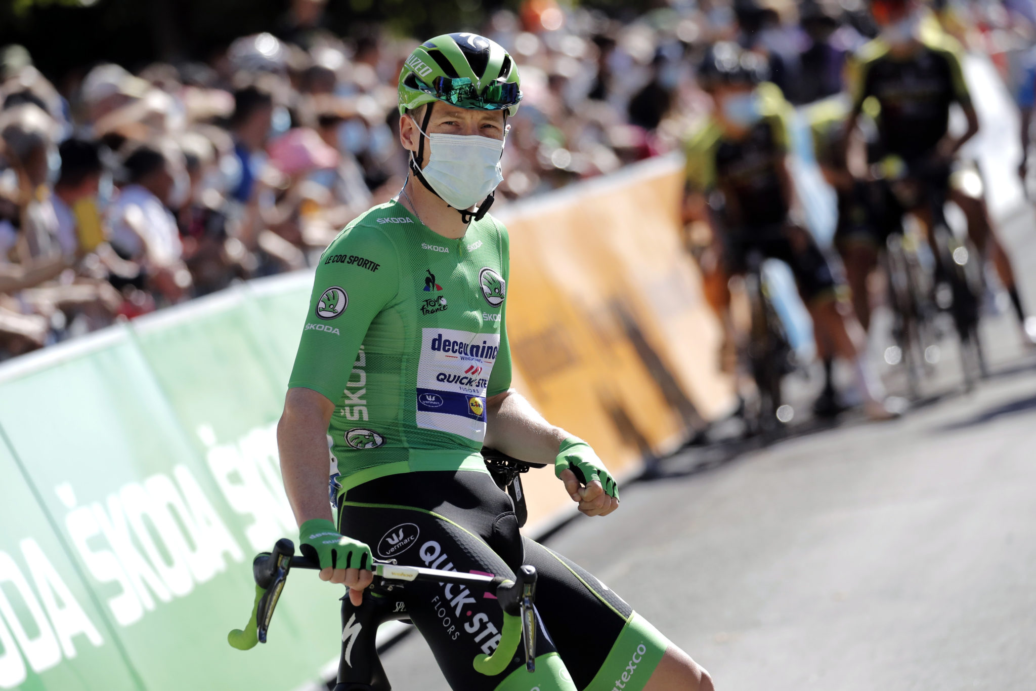 Sam Bennett pictured in the green jersey ahead of stage 13 of the Tour de France