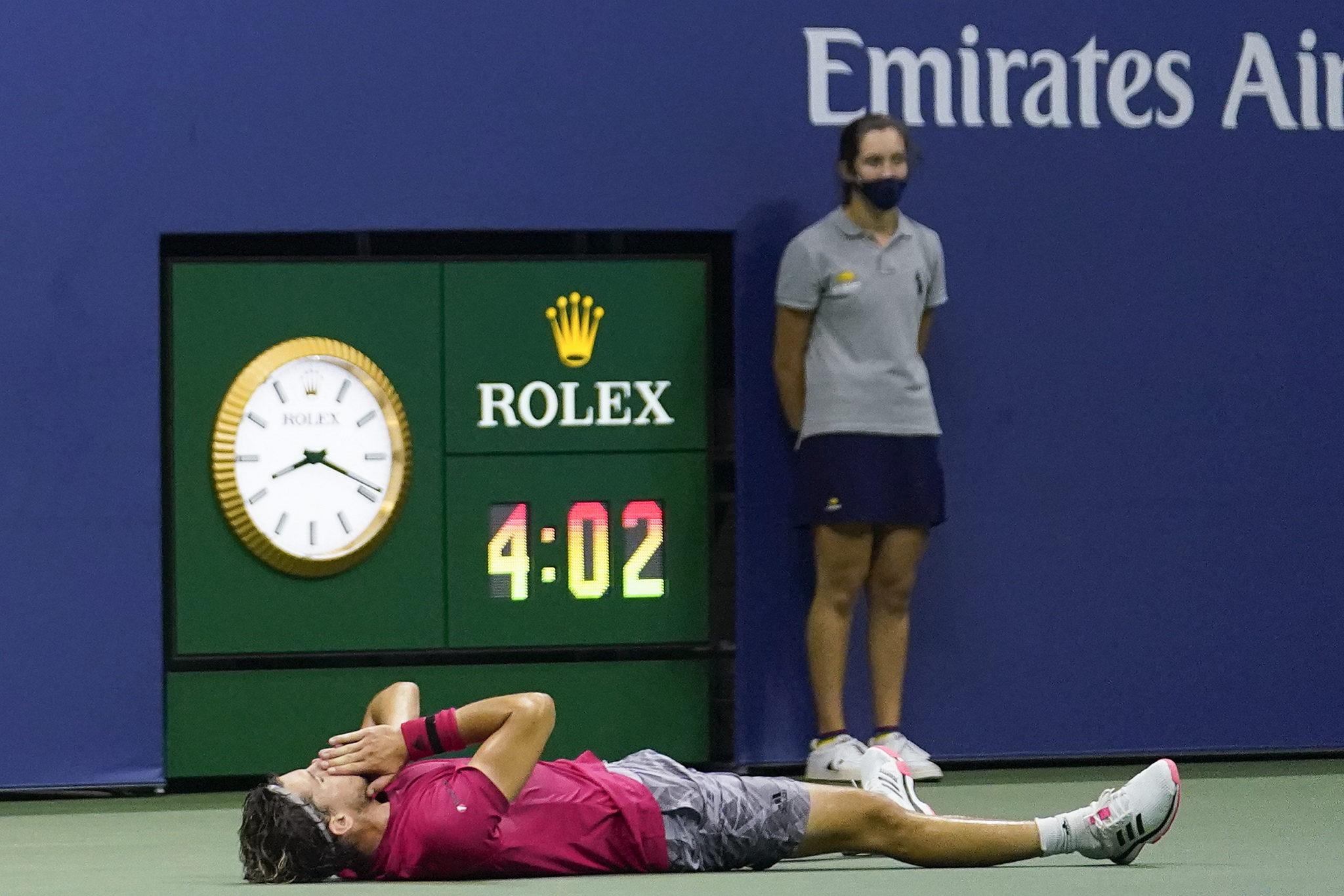 Dominic Thiem breaks down following his victory over Alexander Zverev