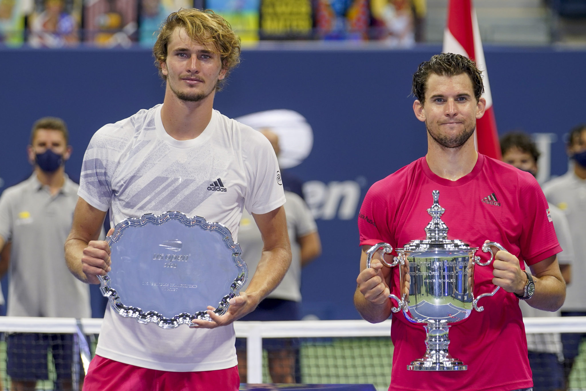 Dominic Thiem and Alexander Zverev pose after the men's 2020 US Open final