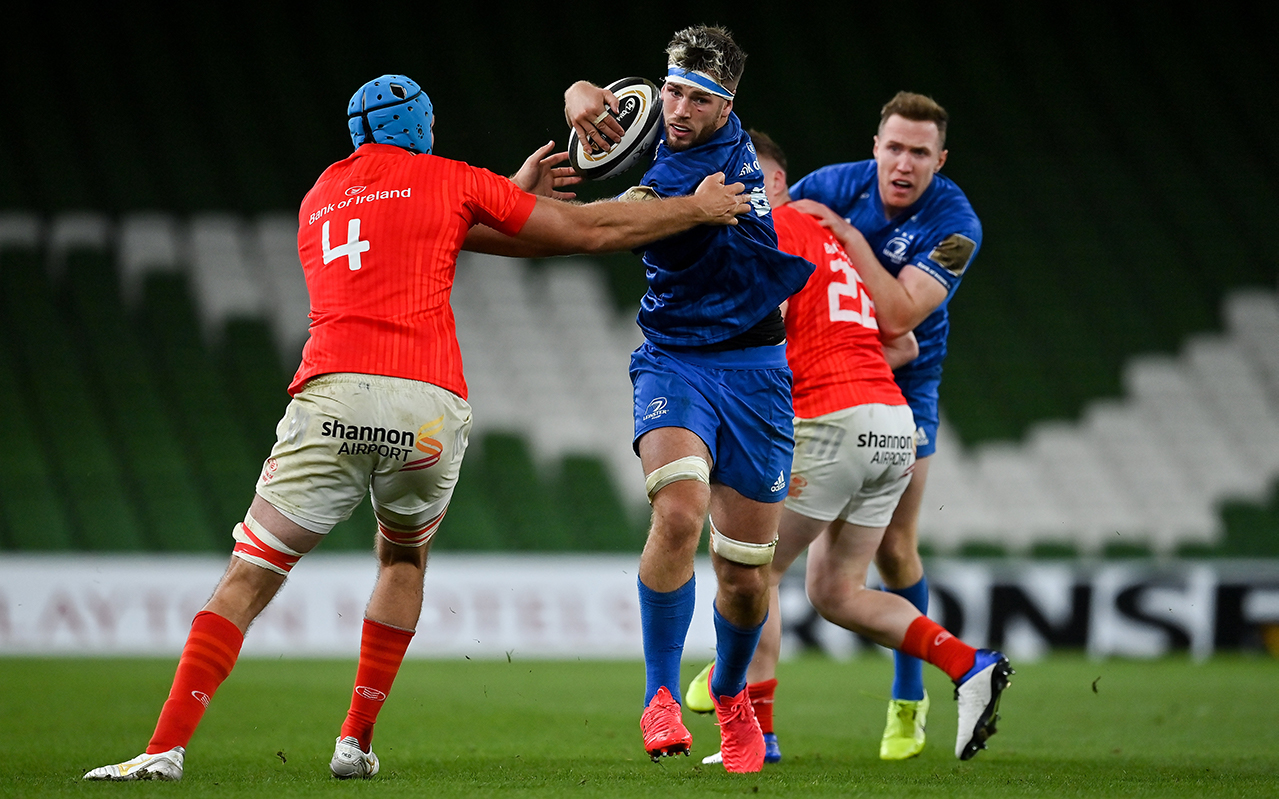 Caelan Doris of Leinster is tackled by Tadhg Beirne of Munster during the Guinness PRO14 Semi-Final match between Leinster and Munster at the Aviva Stadium in Dublin