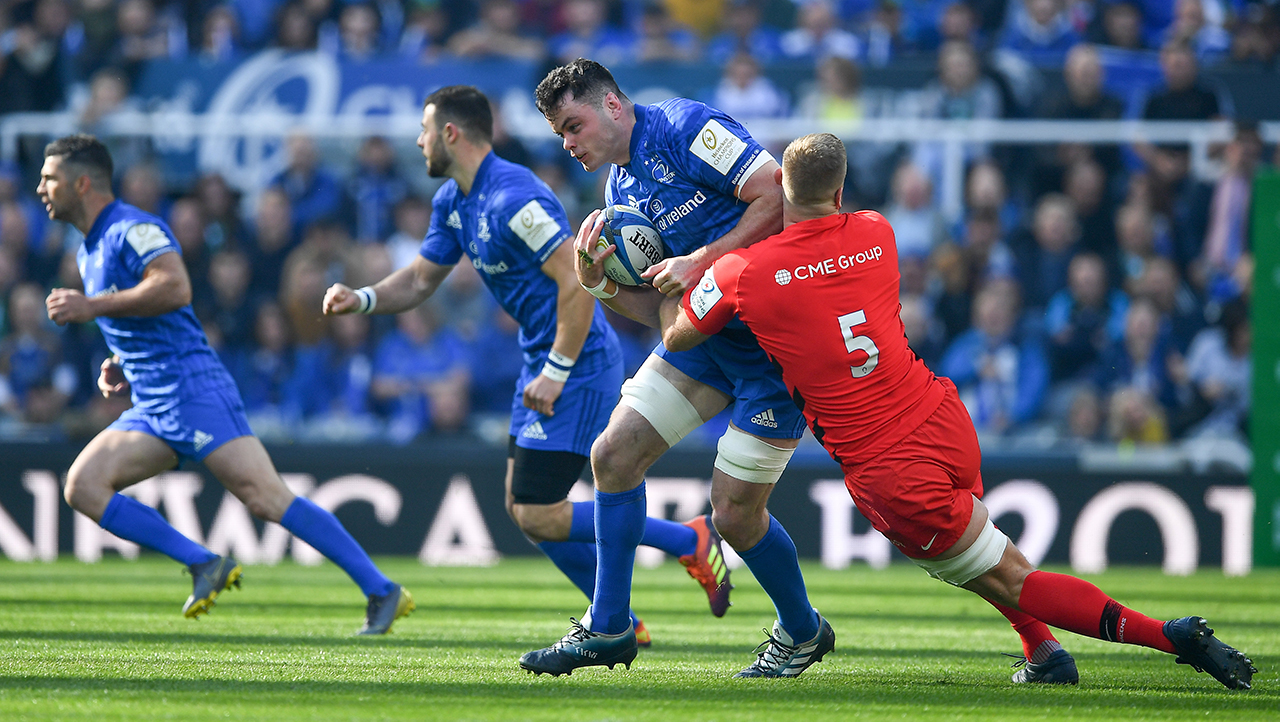 James Ryan of Leinster is tackled by George Kruis of Saracens during the Heineken Champions Cup Final match between Leinster and Saracens at St James' Park in Newcastle
