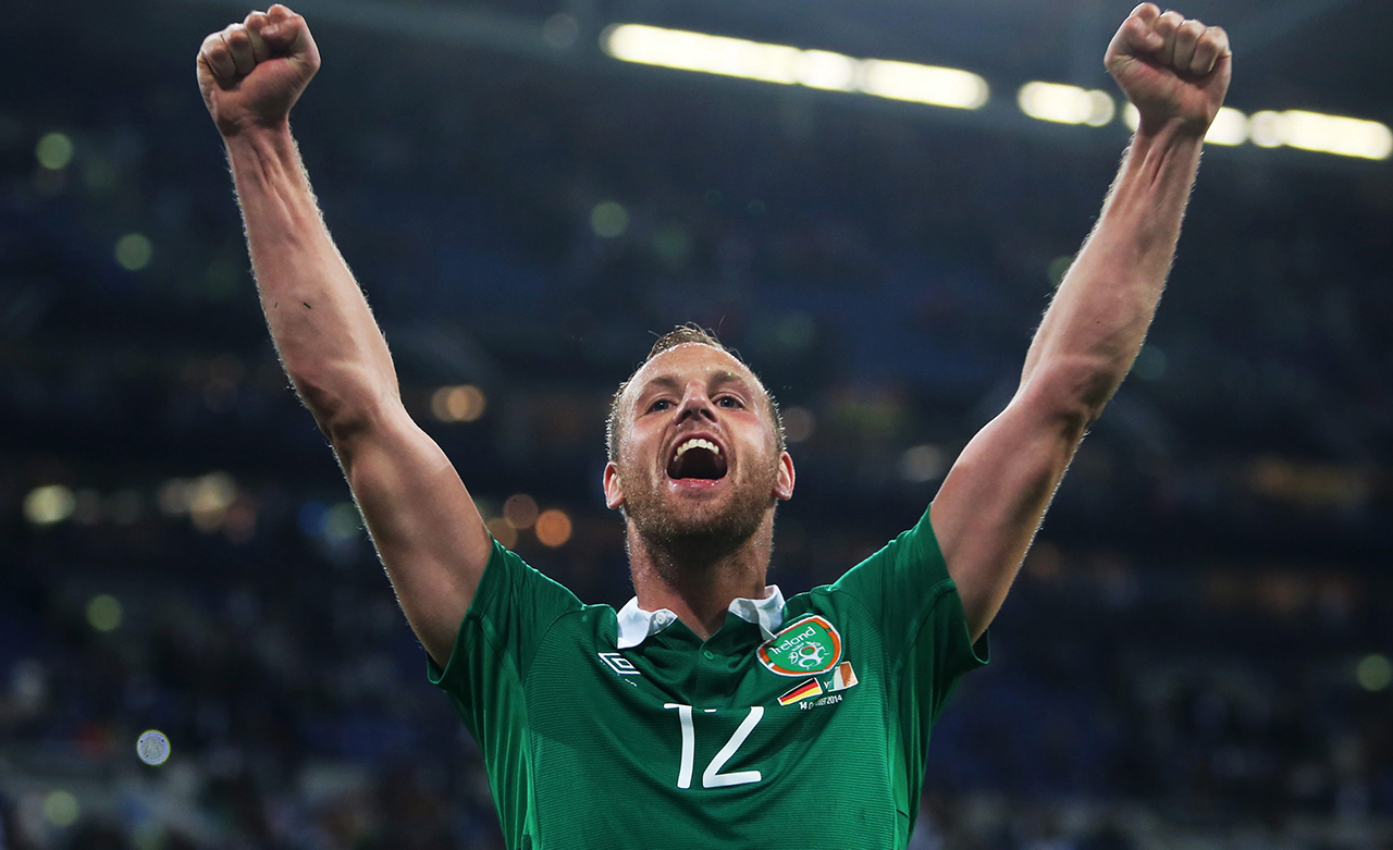 David Meyler of Ireland celebrates after the final whistle of the UEFA EURO 2016 qualifying soccer match between Germany and Ireland