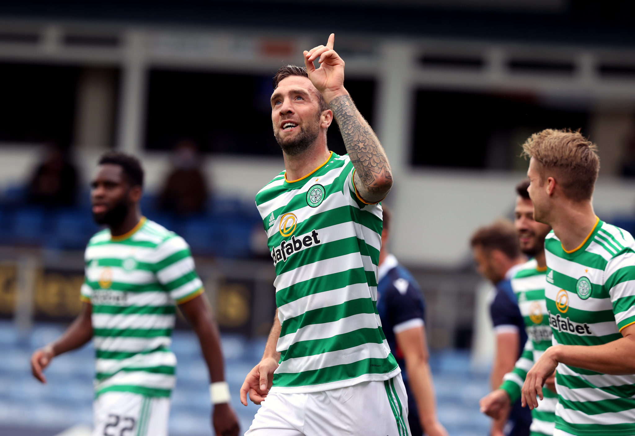Shane Duffy celebrates opening his Celtic account at Ross County