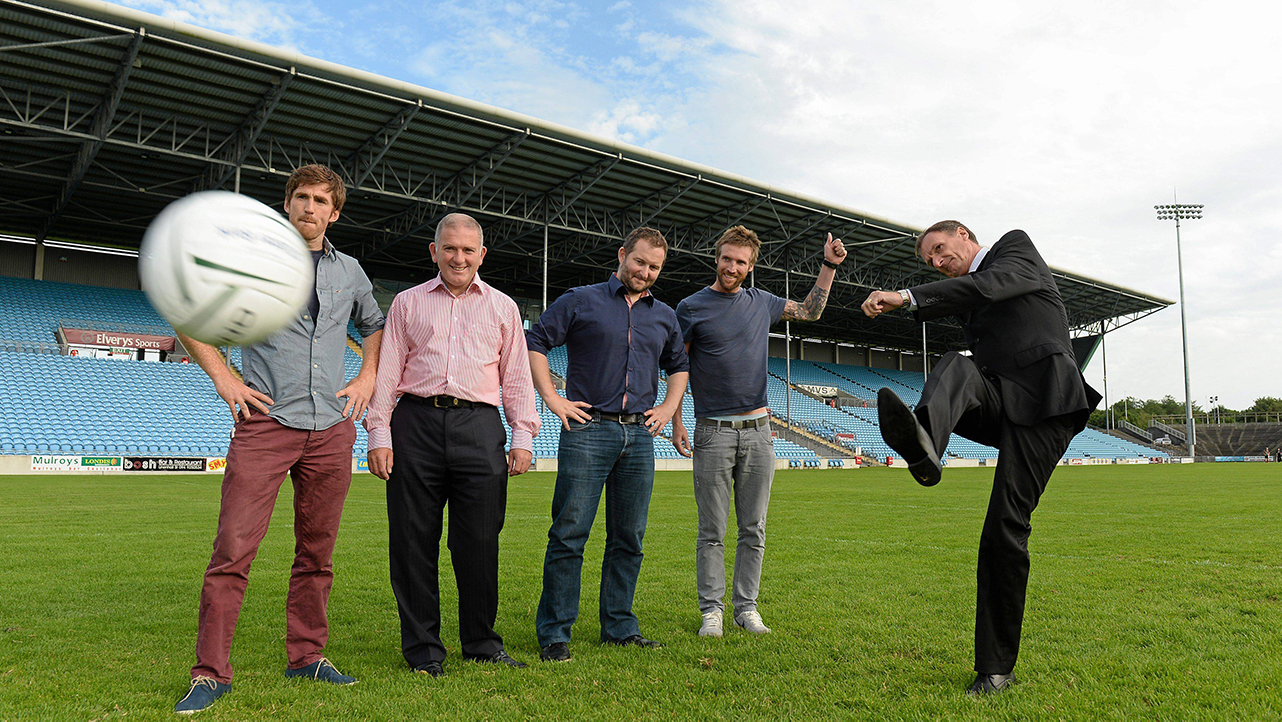 Former Liverpool player Phil Thompson takes a penalty in MacHale Park watched by Newstalk 106-108 FM's Off the Ball presenters, from left ,Wexford hurler Diarmuid Lyng, Peter Mulry, Branch manager, Ulster Bank Belmullet, presenter Ger Gilroy, and Laois footballer Colm Parkinson in advance of the live broadcast of Ireland's most popular sports radio show 'Off the Ball' at Castlebar Mitchels GAA Club in Mayo