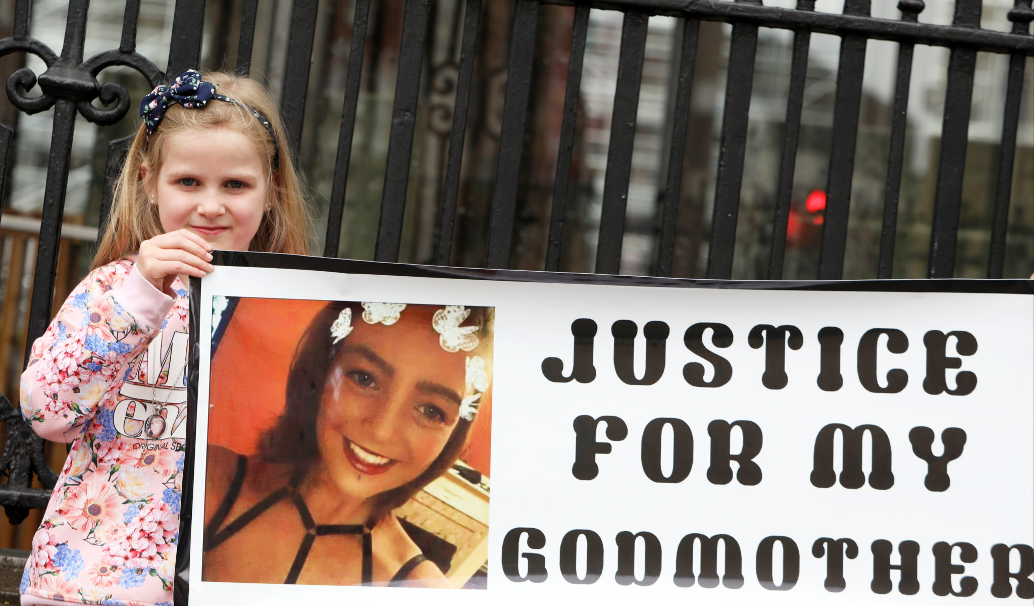 Seven-year-old Niamh Coventry, Godchild of Nicole Fox Fenlon at a vigil outside the Dáil Coco's Law