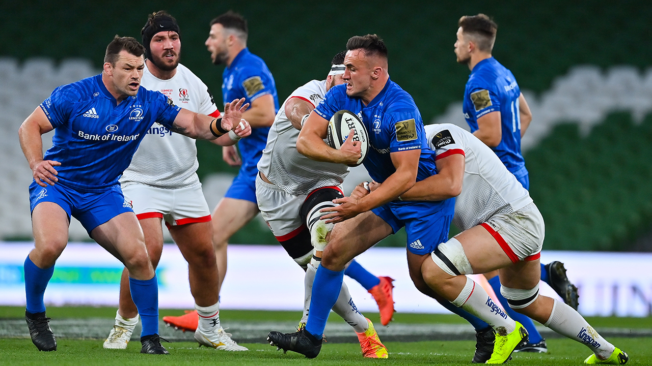 Rónan Kelleher of Leinster is tackled by Matthew Rea of Ulster during the Guinness PRO14 Final match between Leinster and Ulster at the Aviva Stadium in Dublin