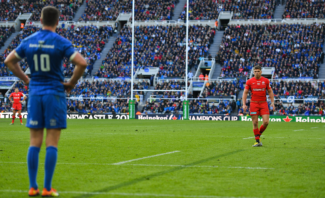 Owen Farrell of Saracens, right, and Jonathan Sexton of Leinster during the Heineken Champions Cup Final match between Leinster and Saracens at St James' Park