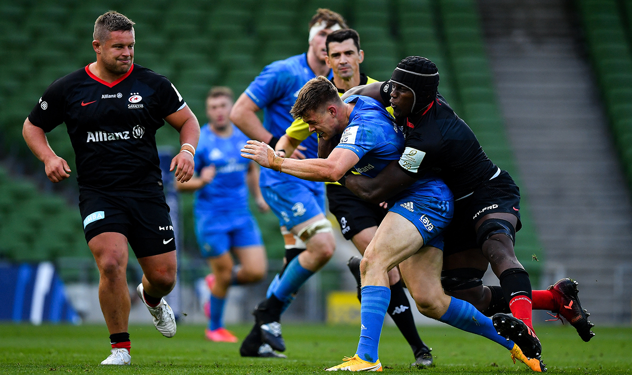 Garry Ringrose of Leinster is tackled by Maro Itoje of Saracens during the Heineken Champions Cup Quarter-Final match between Leinster and Saracens at Aviva Stadium in Dublin