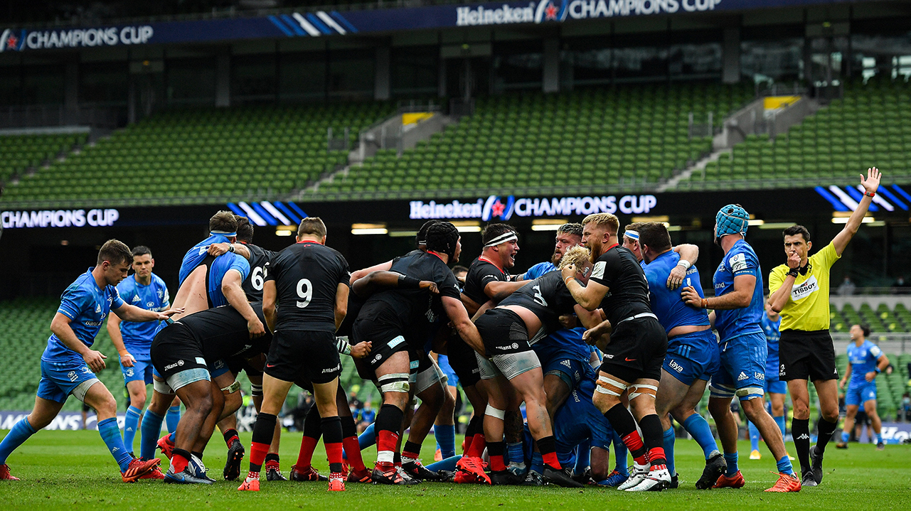 Saracens players celebrate winning a scrum penalty during the Heineken Champions Cup Quarter-Final match between Leinster and Saracens at the Aviva Stadium in Dublin