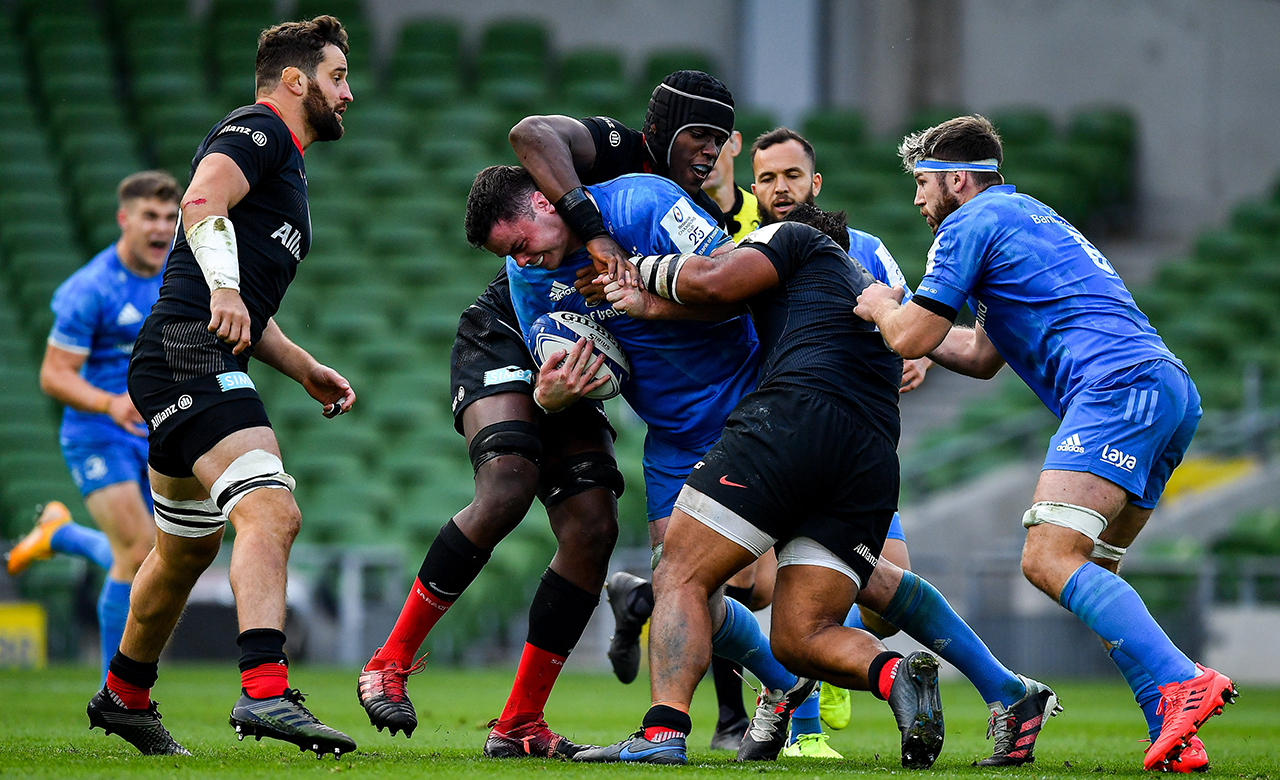 James Ryan of Leinster is tackled by Maro Itoje of Saracens during the Heineken Champions Cup Quarter-Final match between Leinster and Saracens at the Aviva Stadium in Dublin