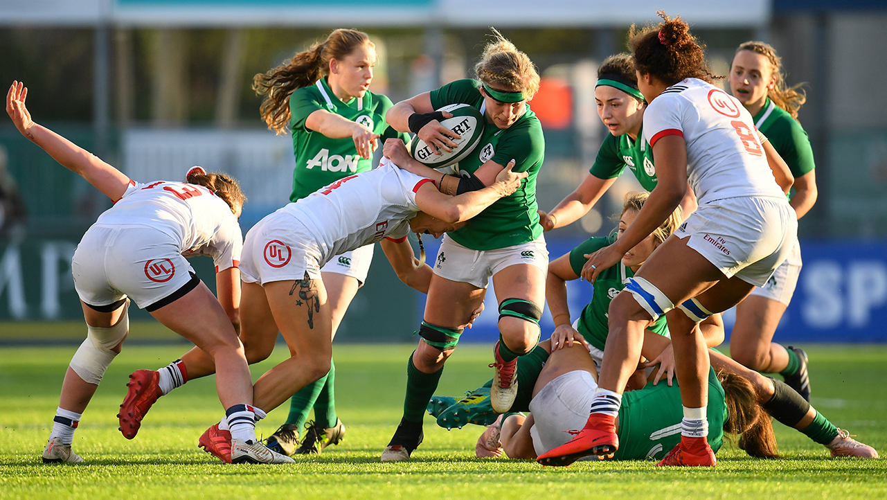 Claire Molloy of Ireland is tackled by Kelsi Stockert of USA during the Women's International Rugby match between Ireland and USA at Energia Park in Donnybrook