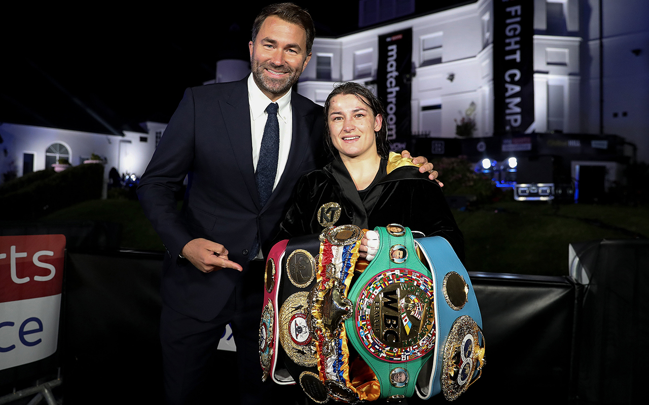 Katie Taylor with promoter Eddie Hearn after her Undisputed Lightweight Titles fight against Delfine Persoon at Brentwood in Essex, England