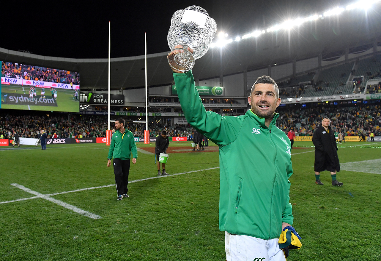 Rob Kearney of Ireland celebrates with the Lansdowne Cup after the 2018 Mitsubishi Estate Ireland Series 3rd Test match between Australia and Ireland at Allianz Stadium in Sydney, Australia