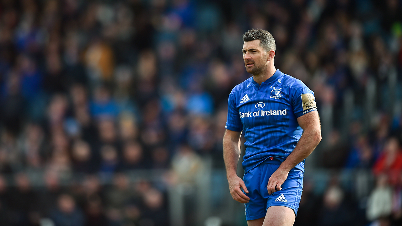 Rob Kearney of Leinster during the Guinness PRO14 Round 20 match between Leinster and Glasgow Warriors at the RDS Arena in Dublin