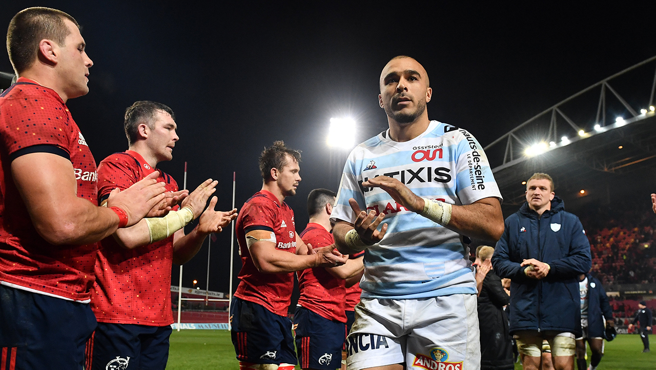 Simon Zebo of Racing 92 is applauded off the pitch following the Heineken Champions Cup Pool 4 Round 2 match between Munster and Racing 92 at Thomond Park in Limerick