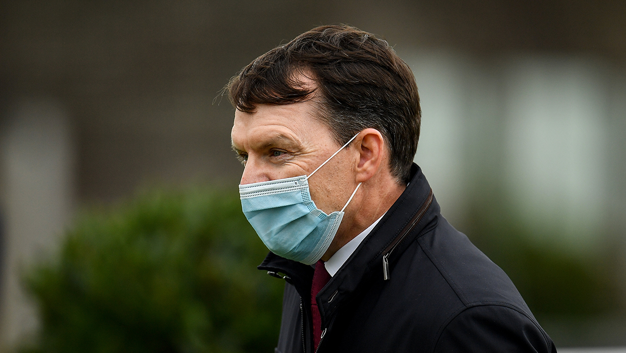 Trainer Aidan O'Brien after sending out Magical to win the Irish Champion Stakes during day one of The Longines Irish Champions Weekend at Leopardstown Racecourse in Dubli