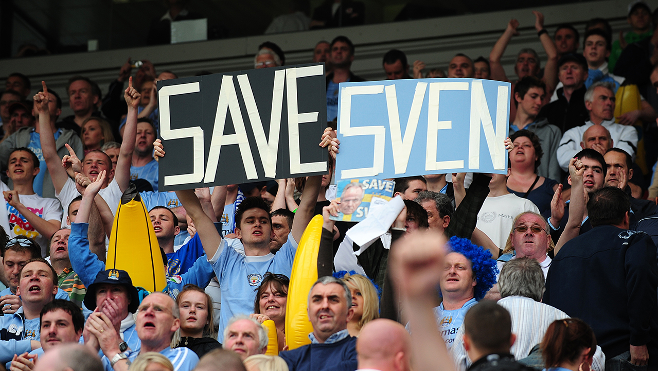 Manchester City fans show their support for manager Sven Goran Eriksson in the stands prior to kick off.