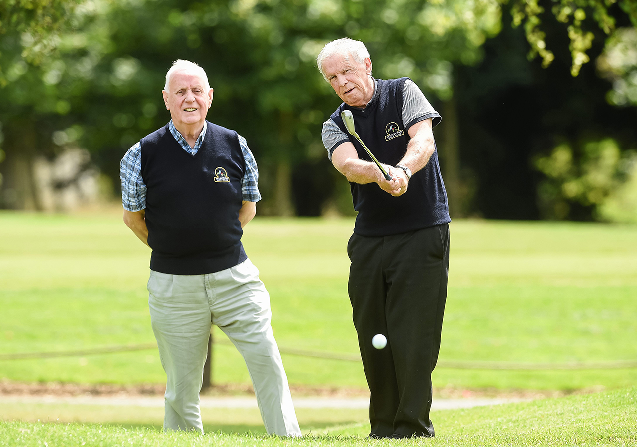John Giles and Oliver Barry, from Hollystown Golf Club in attendance at the Launch of the John Giles Foundation Golf Classic, Hollystown Golf Club, Dublin.