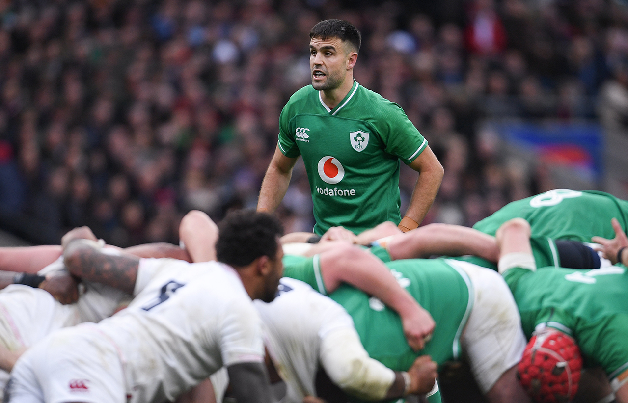 Conor Murray of Ireland during the Guinness Six Nations Rugby Championship match between England and Ireland at Twickenham Stadium in London, England.