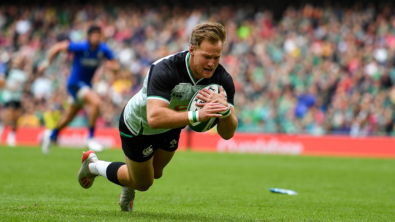 Kieran Marmion of Ireland scores his side's fourth try during the Guinness Summer Series 2019 match between Ireland and Italy at the Aviva Stadium in Dublin